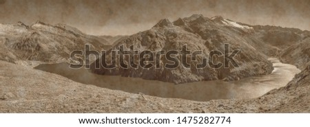 Malta Valley, Hohe Tauern, Carinthia, Austria, old landscape photo, artistic photograph of mountain landscapes in aged sepia to give it the patina of another time.