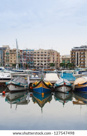 Maltese boats in the marina near Gzira, Malta