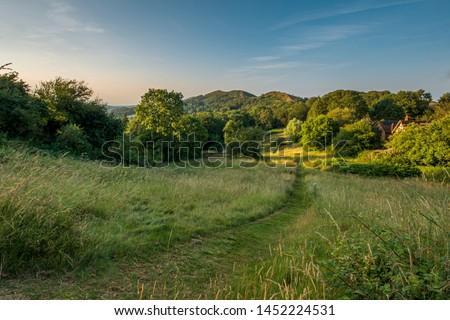 Malvern Hills view Worcestershire England