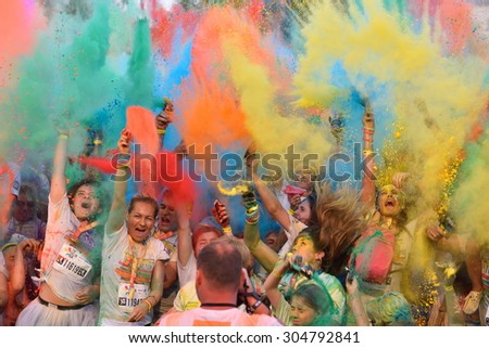 MAMAIA CONSTANTA ROMANIA AUGUST 1 Mamaia color run 2015 in Mamaia Constanta on August 1 2015 People from all walks of life participating in the fun colored summer run