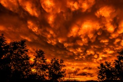 Mammatus clouds at sunset after one thousand year rain storm, Webster County, West Virginia, USA. Mammatus clouds are pouch-like clouds hanging downward from an upper or mid-level cloud layer