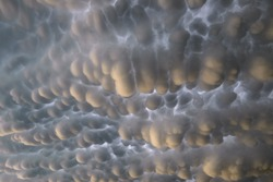 Mammatus clouds below the anvil of a Great Plains thunderstorm