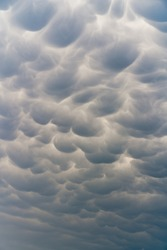 Mammatus clouds while storm chasing in Texas.