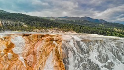 Mammoth Hot Springs, Yellowstone National Park. Aerial view from drone viewpoint in summser season