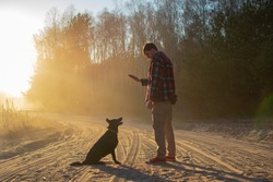 Man a walking dogs in nature. The owner is training a black shepherd dog, gives commands to sit. A guy with a dog on the road in the forest, sunset. Puppy executes commands, listens to a man.Obedienсe