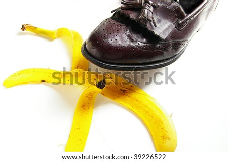 man about to step on a banana peel, from above