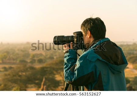 Man Adventure Traveling Holiday Photography Concept