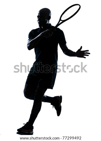 man african afro american playing tennis player forehand on studio isolated on white background