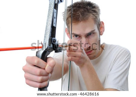 Man aims with his bow and arrow isolated on white background with room for your text. - stock photo