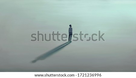 Man alone with the light. Surreal painting hope lonely and loneliness concept. minimal illustration Foto stock ©