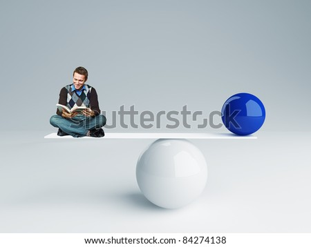 man and  ball rendering in false balance