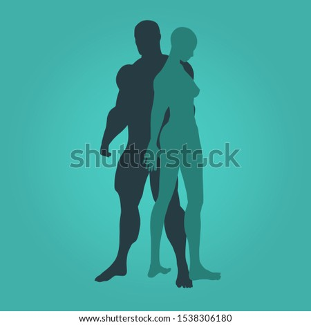 Man and Beautiful Woman Standing Silhouettes. Human Relationships Concept