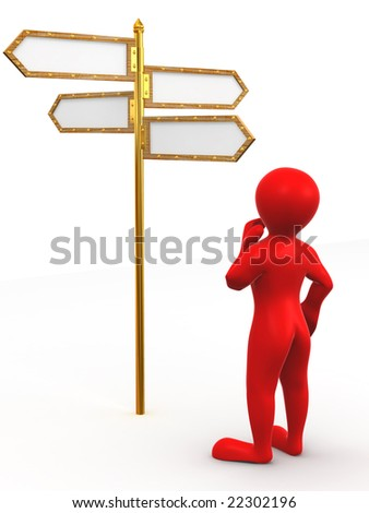 Man and blank arrows directions. 3d