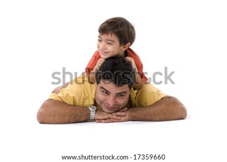 Man and boy having fun together .