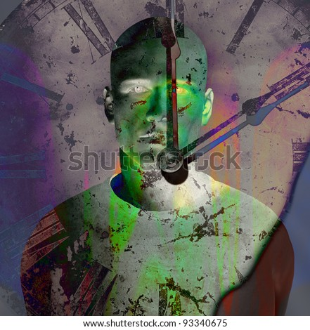 Man and clock in grunge color