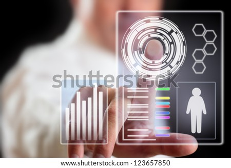 Man and computer display technology of future.