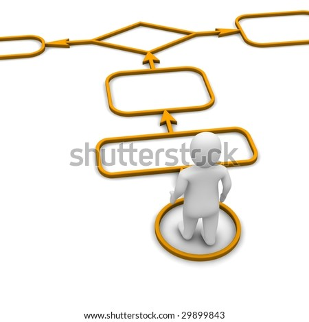 Man and diagram. 3d rendered illustration isolated on white.