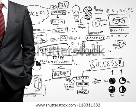 man and drawing business strategy