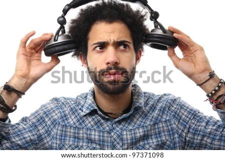man and his headphone