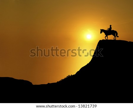 man and horse on mountain ridge at sunset - stock photo