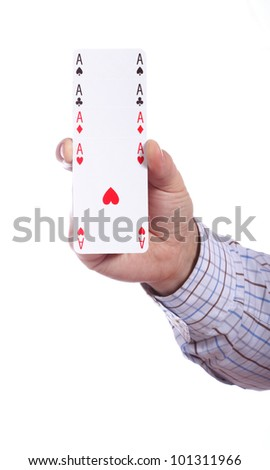 man and playing cards in hand isolated