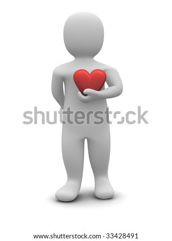 Man and red glossy heart. 3d rendered illustration isolated on white.