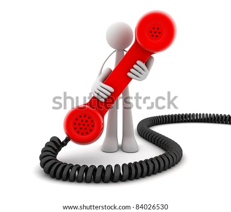 Man and Red telephone (done in 3d, isolated)