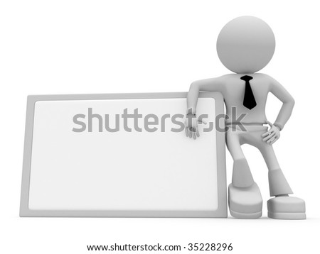 Man and tablet for text