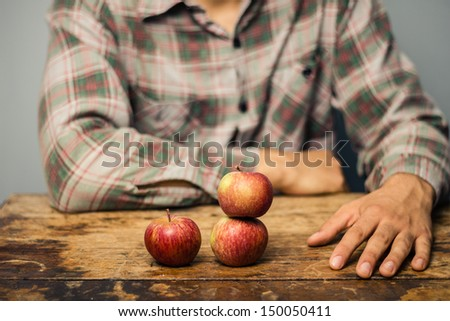 man and three apples