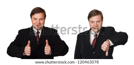 Man and thumb gesture isolated on white background