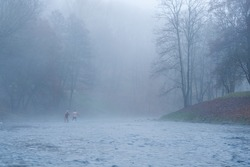 Man and woman bathing in cold water river in November at 0 degrees, misty foggy morning in Vilnius, Lithuania