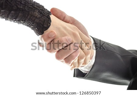 Man and woman business handshake. Isolated over white background - stock photo
