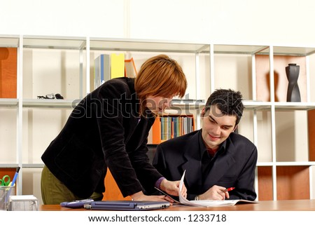 man and woman business meeting - stock photo