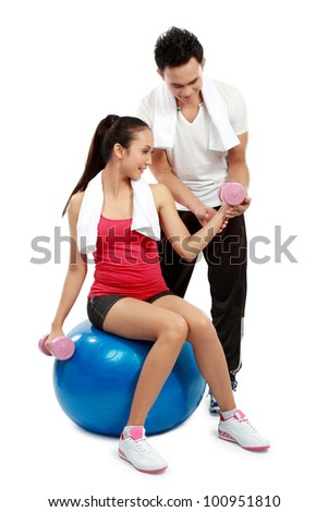 man and woman doing sport isolated over white background
