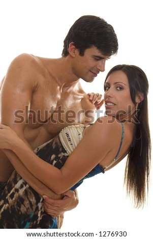Man and woman embrace