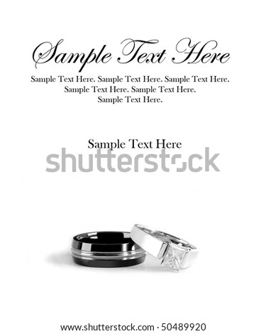 Man and Woman Engagement Rings with Sample Text Space Above