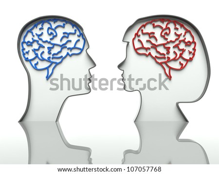 Man and woman faces profiles with brains, concept of difference