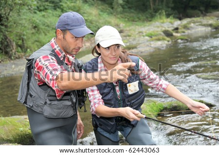 Man and woman fly fishing in river