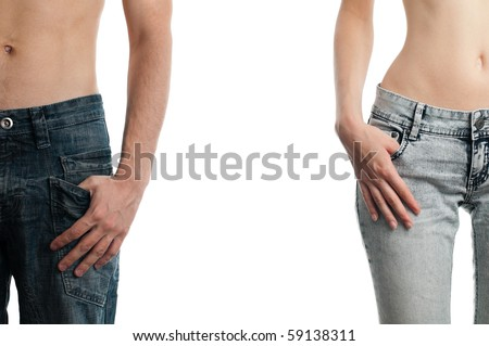 man and woman, hands in pockets of their jeans, isolated on white background