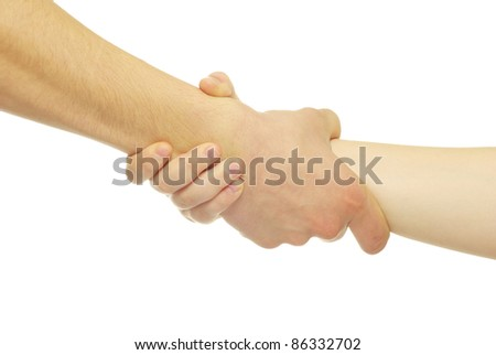 Man and woman hands isolated on white background