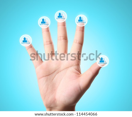 Man and woman hands ,social  network