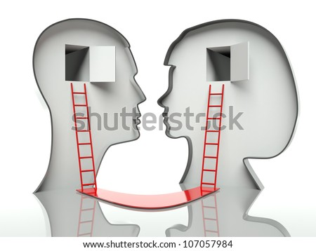 Man and woman heads profiles with ladders and path, concept of communication