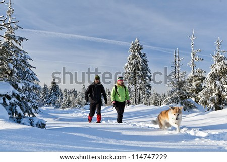Man and woman hikers with akita dog on trekking in winter mountains. Happy young couple walking on snow, Poland