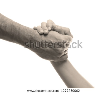 Man and woman holding hands on white background, closeup. Help concept #1299230062