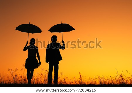 Man Woman Umbrella Man And Woman Holding Umbrella
