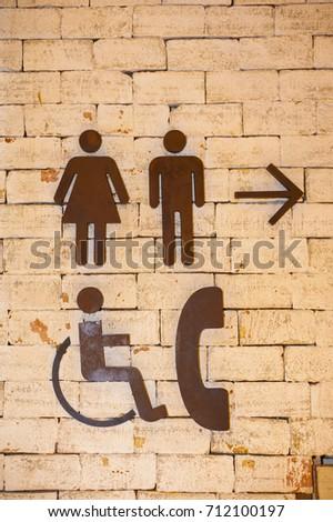 Man and Woman icon , Arrow icon , Toilet sign , Wheelchair icon ,Telephone icon #712100197