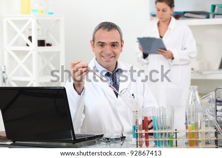 Man and woman in laboratory