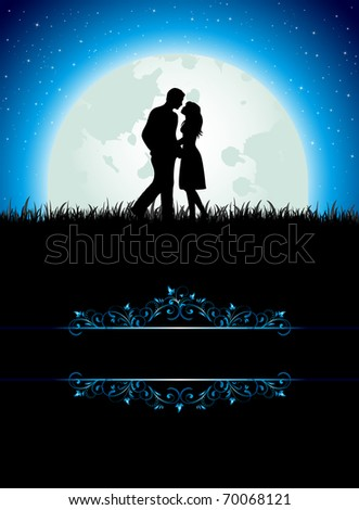 Man and Woman on Moon background, illustration