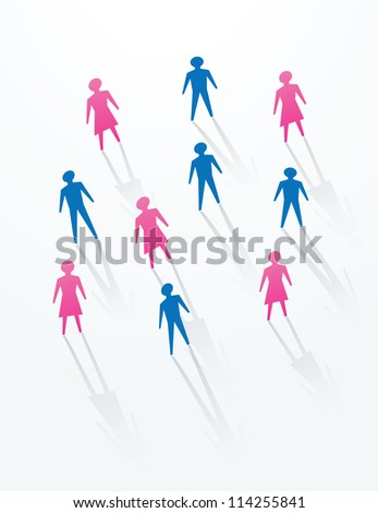 man and woman paper cutout people sihouettes, for social life in society.