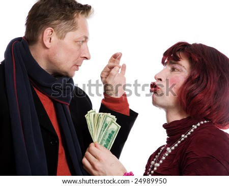 Man and woman quarrel because of the money on a white background